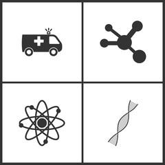 Vector Illustration Set Medical Icons. Elements of Ambulance, Molecule , Neutron and DNA molecule icon