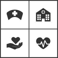 Vector Illustration Set Medical Icons. Elements of Doctor Cap, Hospital, health and Heartbeat icon