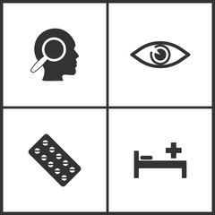 Vector Illustration Set Medical Icons. Elements of Thoughts, Eyes, Pills and Pay bed icon