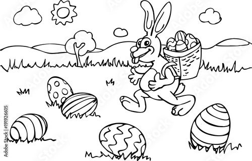 Malvorlage Osterhase mit Korb läuft über Wiese mit Eiern\