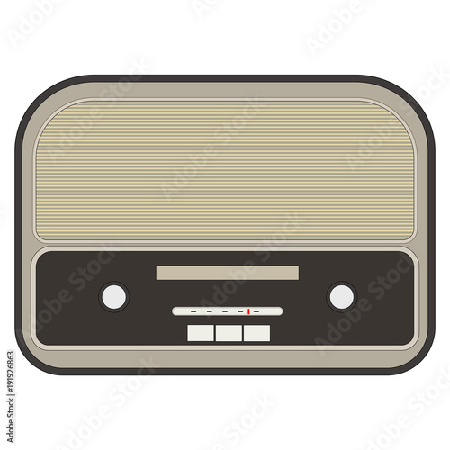 Flat, retro radio design/icon. Isolated on white\