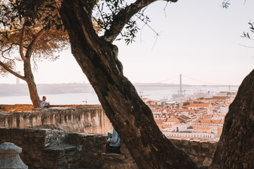 Aerial view of the Lisbon city old town from the castle on top of the hill in Portugal.