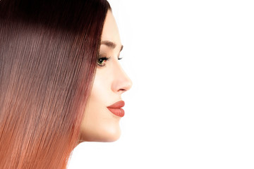 Beautiful model girl with healthy straight hair. Hair coloring technique