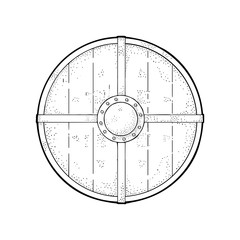 Wood round shield. Vintage vector black engraving