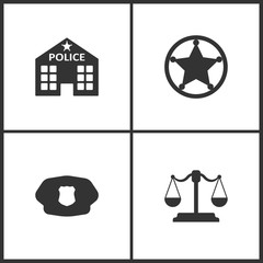 Vector Illustration Set Medical Icons. Elements of Police station, Sheriff star, Police of hat and Libra icon