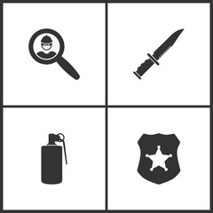 Vector Illustration Set Medical Icons. Elements of Magnifier with a thief, Military or army knife, Smoke grenade and Police badge icon