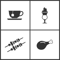 Vector Illustration Set Medical Icons. Elements of Tea cup, Coffe, Kebab and Chicken leg icon