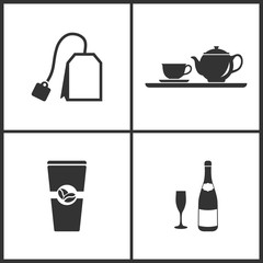 Vector Illustration Set Medical Icons. Elements of Teabag, Teacup, Coffe and Champagnes icon