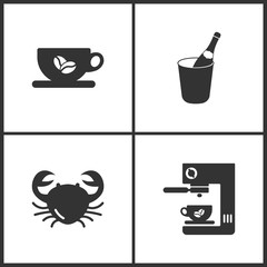 Vector Illustration Set Medical Icons. Elements of Cup, Bottle of champagne, Crab vector and Coffee maker icon