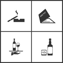 Vector Illustration Set Medical Icons. Elements of Cigarette and ashtray, Menu, Wine on the tray and Whiskey icon
