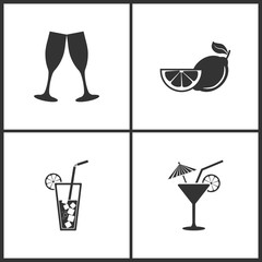 Vector Illustration Set Medical Icons. Elements of Champagne glasse, Fruits lemon, Cocktail and Cocktail icon