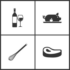 Vector Illustration Set Medical Icons. Elements of Wine, Pig with apple, Whisk and Steak icon