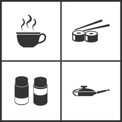 Vector Illustration Set Medical Icons. Elements of Cup, Sushi, Salt and pepper and Pan icon