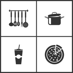 Vector Illustration Set Medical Icons. Elements of Kitchen utensils, Cooking pans, Paper fast food cup and Pizza icon