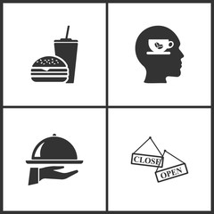 Vector Illustration Set Medical Icons. Elements of Fast Food, Cup of coffee, Tray on the hand and Open Close banner icon