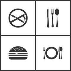 Vector Illustration Set Medical Icons. Elements of No smoking, Fork, Hamburger, fork, knife, spoon and plate icon