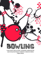 Vector bowling tournament watercolor illustration. Poster, banner, or flyer design template. Flat layout background with red bowling ball and pins.