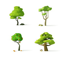 Polygonal trees, modern vector illustration, isolated