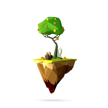 low poly flying island with orange tree, basket of orange , green grass. Vector modern illustration, isolated