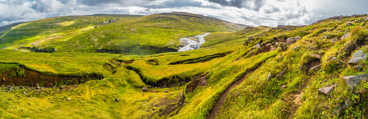 Panoramic view of beautiful Icelandic Landscape, Iceland