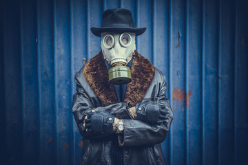Portrait of man with gas mask,selective focus