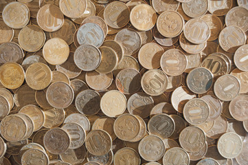 Coins of Russian rubles of different denominations