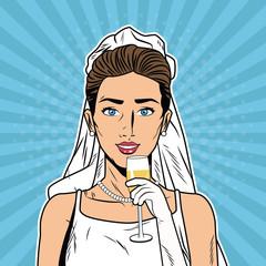 Beautiful bride pop art cartoon vector illustration graphic design Weedingd people