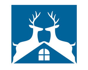blue roof reindeer deer elk stag image vector icon logo silhouette