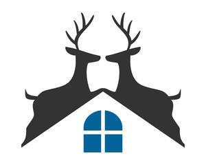 reindeer roof reindeer deer elk stag image vector icon logo silhouette
