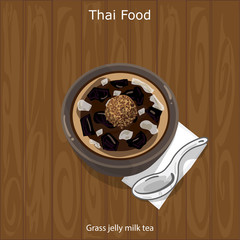 Thai Dessert Grass jelly milk tea