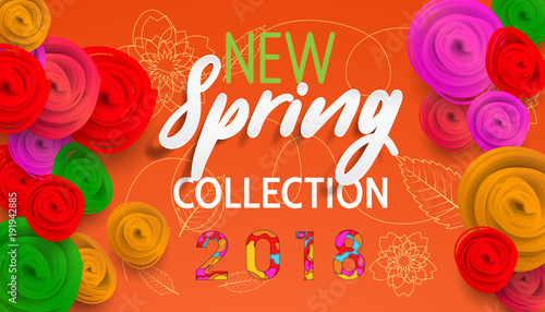 Spring Banner New Collection With Paper Flowers For Online