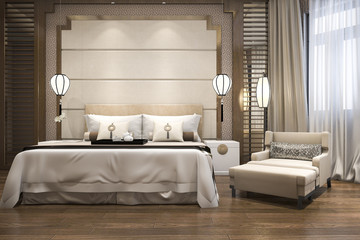 3d rendering chinese luxury classic bedroom with wood floor
