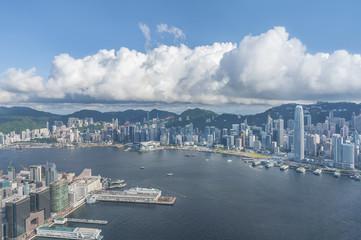 Aerial view of Victoria Harbor of Hong Kong city