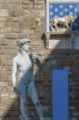 Fototapete - Michelangelo's replica David statue in Florence, Tuscany, Italy