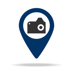 camera in blue map pin icon. Element of map point for mobile concept and web apps. Icon for website design and development, app development. Premium icon