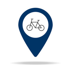 bicycles in blue map pin icon. Element of map point for mobile concept and web apps. Icon for website design and development, app development. Premium icon