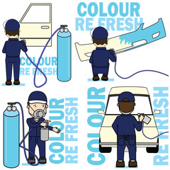 Set of worker Spraying colour on car part.