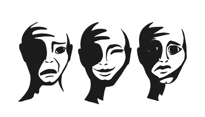 People s faces with different emotions. Head with joy and frustration. Vector illustration.