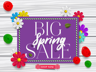 Big spring sale background with beautiful colorful flower. Vector illustration. Wallpaper. flyers, posters, brochure, voucher discount. Spring sale banner with paper flowers for online shopping.