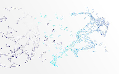 abstract runner background, Running Man, Network connection turned into, vector illustration.
