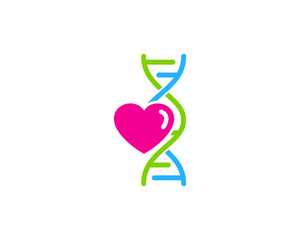 Dna Love Heart Icon Logo Design Element