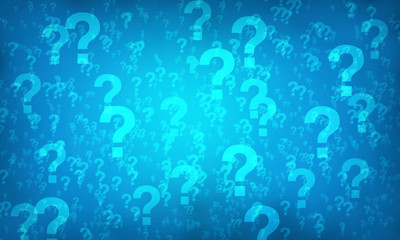 Blue question mark random pattern background.