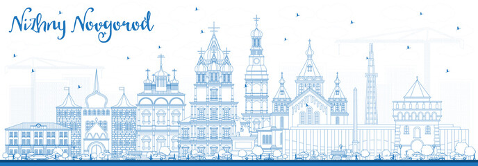 Outline Nizhny Novgorod Russia City Skyline with Blue Buildings.
