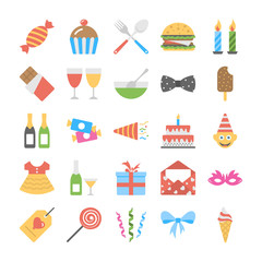 Flat Icon Set of Birthday