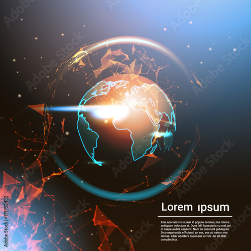 Polygonal earth globe glowing on template background with copy space polygonal earth globe glowing on template background with copy space low poly geometrical world map vector gumiabroncs Image collections