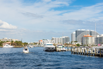 Boats and apartment buildings on Intracoastal Waterway in Ft Lauderdale