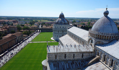 イタリア ピサの斜塔頂上からのピサ大聖堂 Italy Pisa cathedral from the top of the leaning tower in Pisa