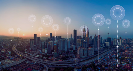 Panorama aerial view in the  cityscape skyline  with network connection concept , early morning sunrise scene .