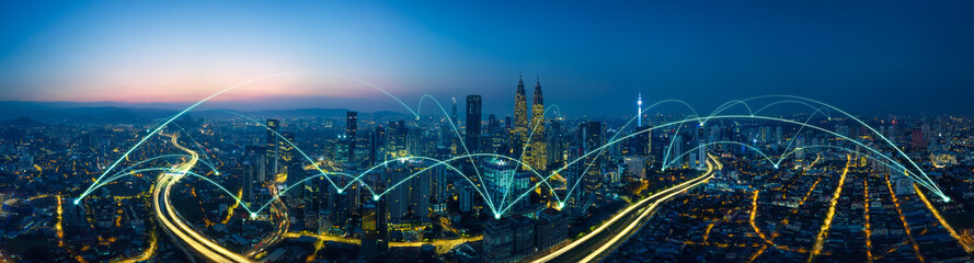 city scape and network connection concept Wall mural