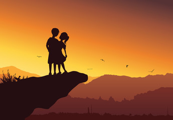 Silhouette of cute couple on top of the mountain - Vector background.